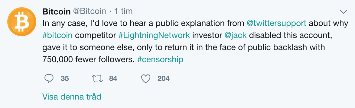 Bitcoin Twitter account accusing Twitter.