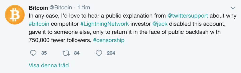 Twitterkontot @bitcoin anklagar.