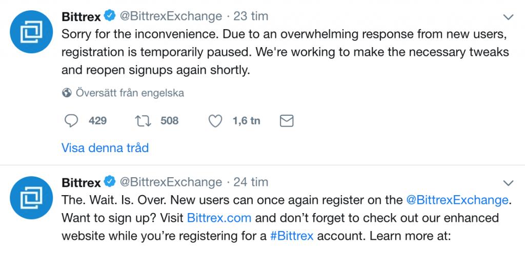 Bittrex tweet om att de tvingades stänga registreringen igen.