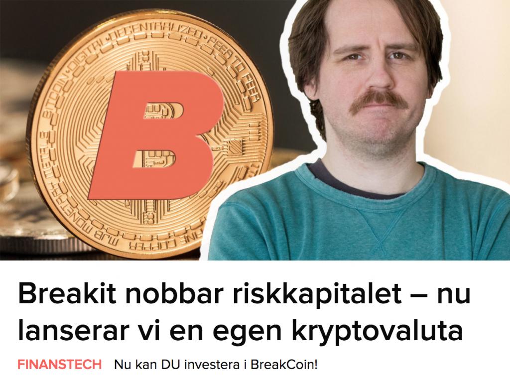 Breakit lanserar kryptovaluta.