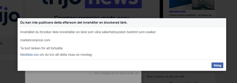 Länkar till sajten Marketcoinprice blockeras av Facebook