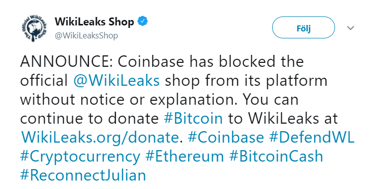 Wikileaks shop tweets about the shut down of their Coinbase account.