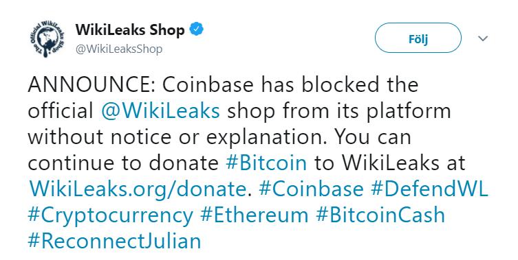 Wikileaks shop skriver på Twitter om nedstängningen av deras konto hos Coinbase.