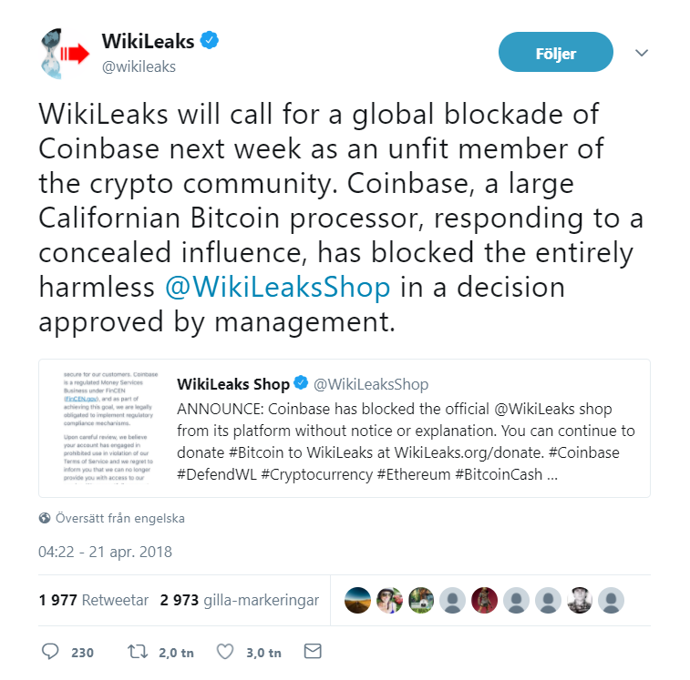 Wikileaks calls for a global blockade of Coinbase this week.