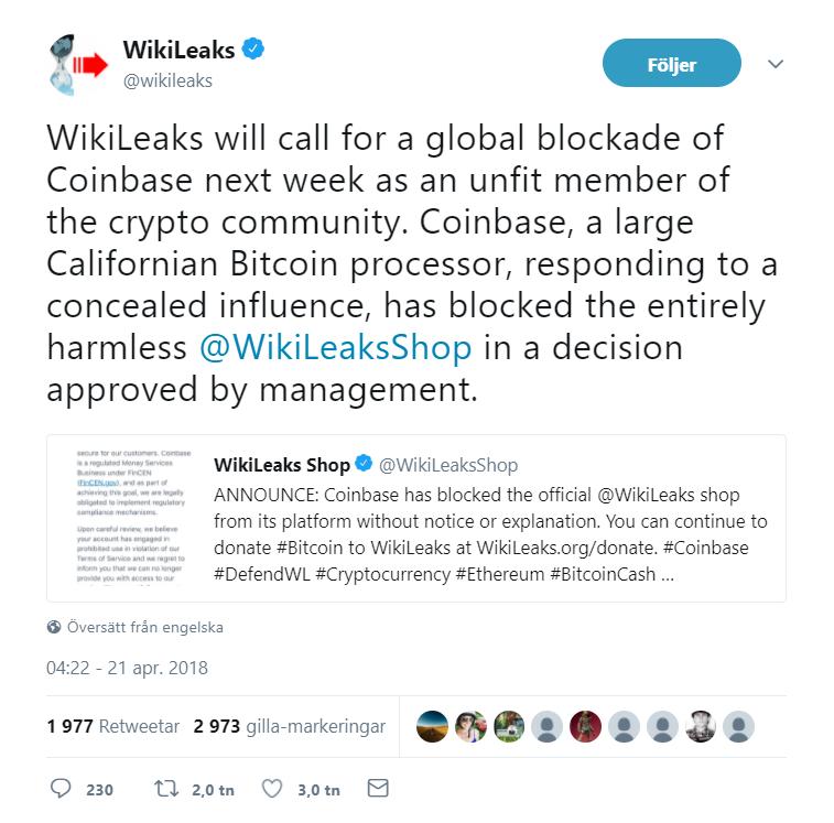 Nu uppmanar Wikileaks sina följare att bojkotta Coinbase helt.