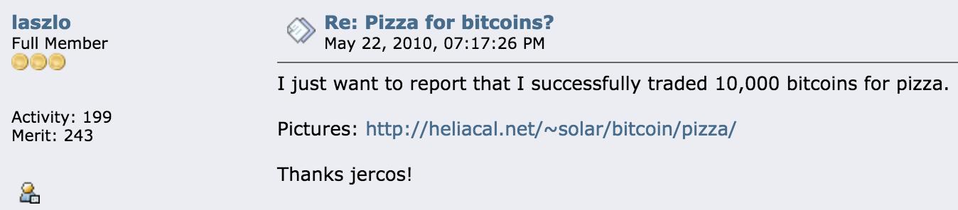 Laszlo Hanyecz lyckades 2010 köpa pizza för 10 000 bitcoins.