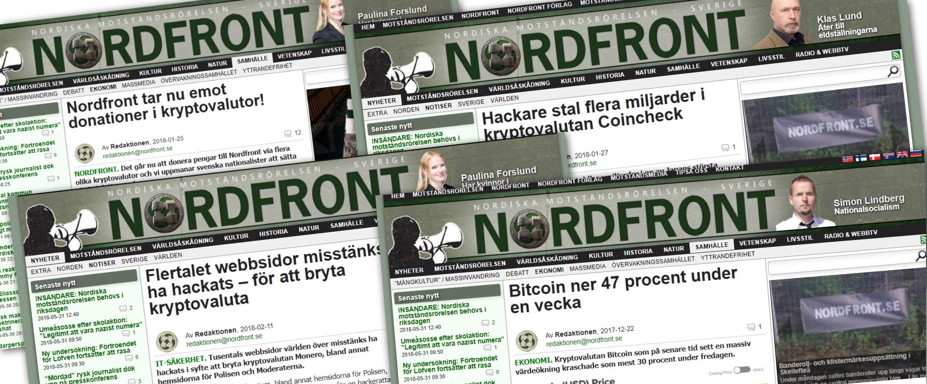 Några av de artiklar Nordiska motståndsrörelsens nättidning Nordfront har skrivit om kryptovalutor.