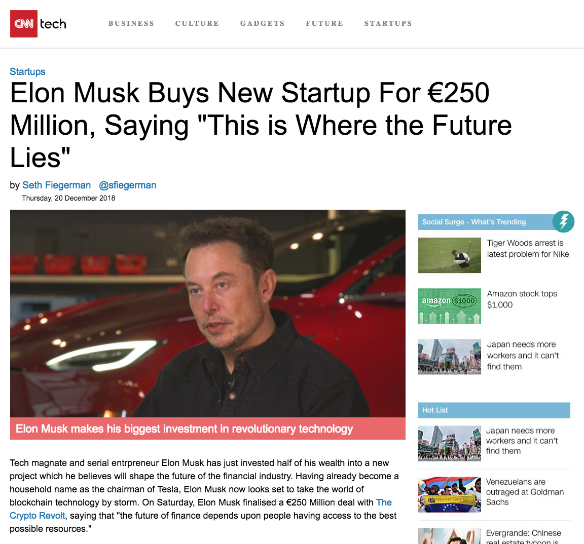 False news article about Elon Musk.