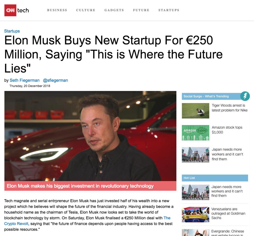 Falsk nyhetsartikel om Elon Musk.