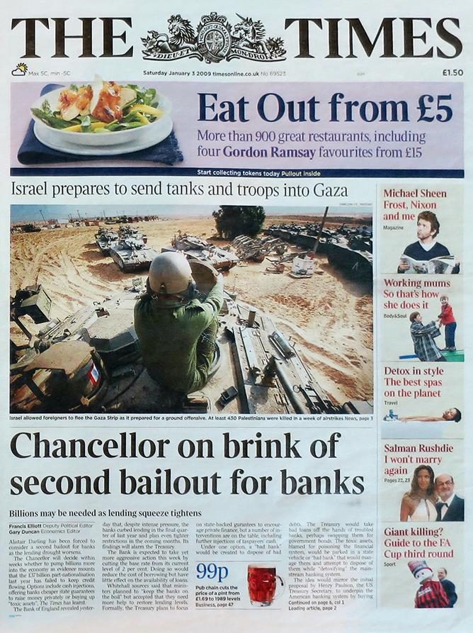 The Times förstasida den 3 januari 2009.