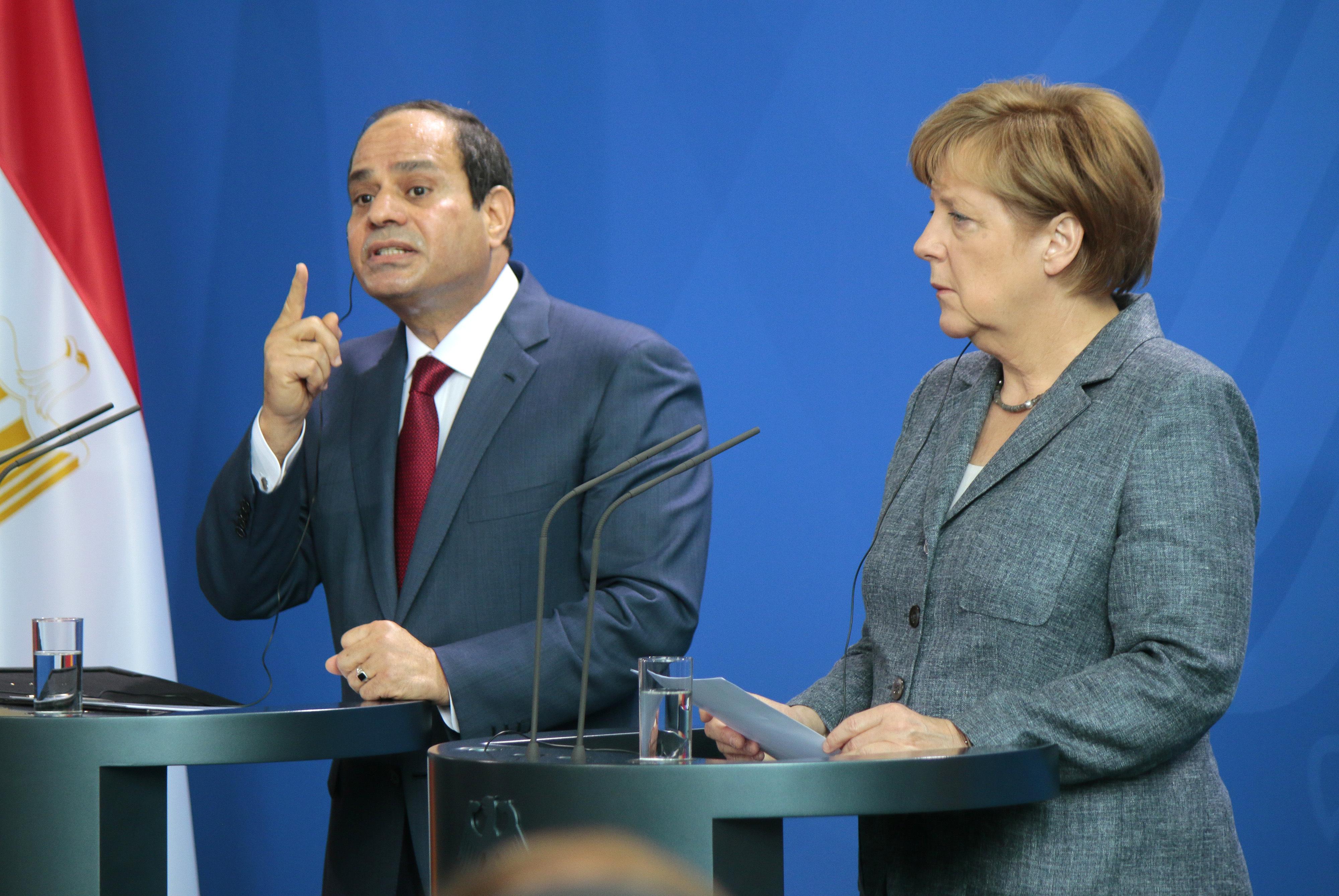 Egyptens president Abd al-Fattah al-Sisi tillsammans med Tysklands förbundskansler Angela Merkel.