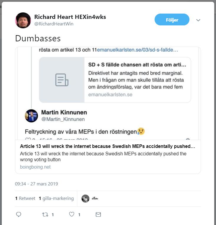 Kryptoprofilen Richard Heart är inte speciellt förstående för de sverigedemokratiska EU-parlamentarikernas feltryckning i gårdagens omröstning