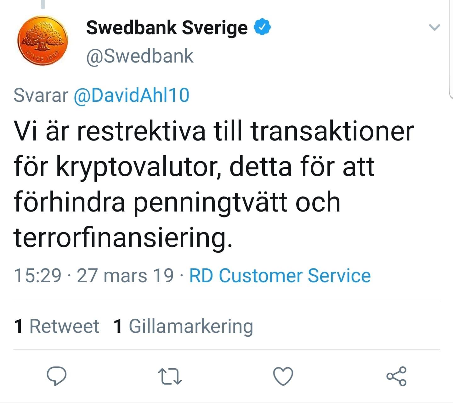 Swedbank svarar om kryptovalutor på Twitter.