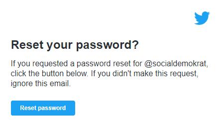 Återställ lösenord för Socialdemokraternas Twitterkonto.
