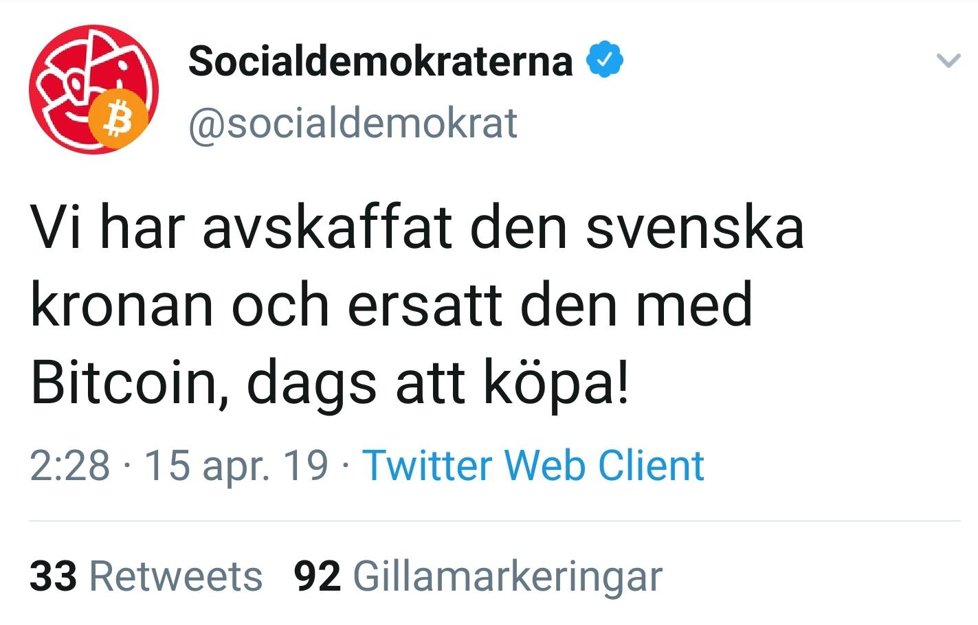 Socialdemokraternas Twitterkonto hackat.