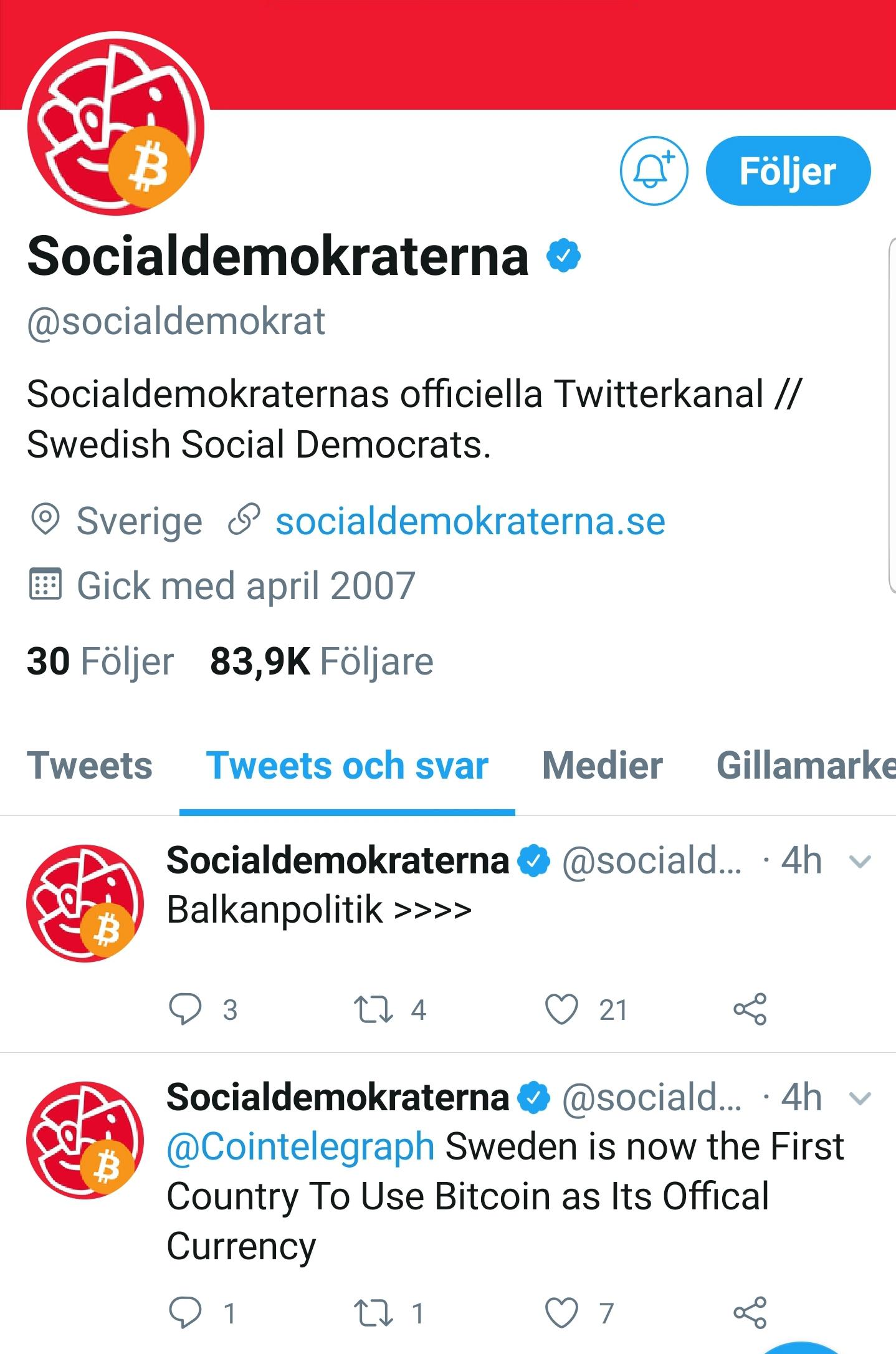 Socialdemokraternas hackade Twitterkonto.