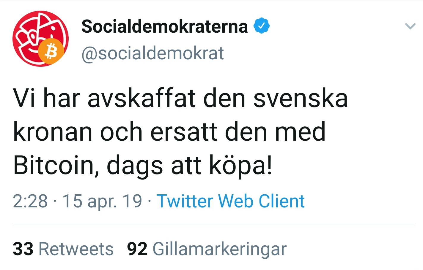 Swedish Social Democratic Party's Twitter account hacked.