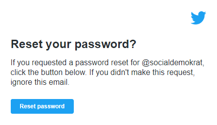 Reset password for the Swedish Social Democratic Party's Twitter account.