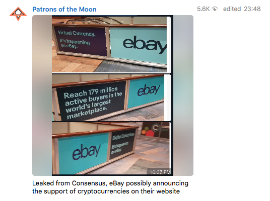 Adverts from Ebay at the crypto conference Consensus in New York.