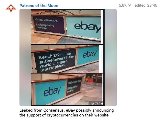 Reklamskyltar från Ebay från kryptokonferensen Consensus i New York.