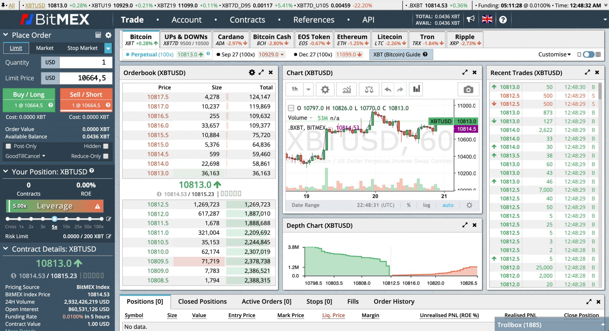 Interface for the crypto exchange Bitmex.