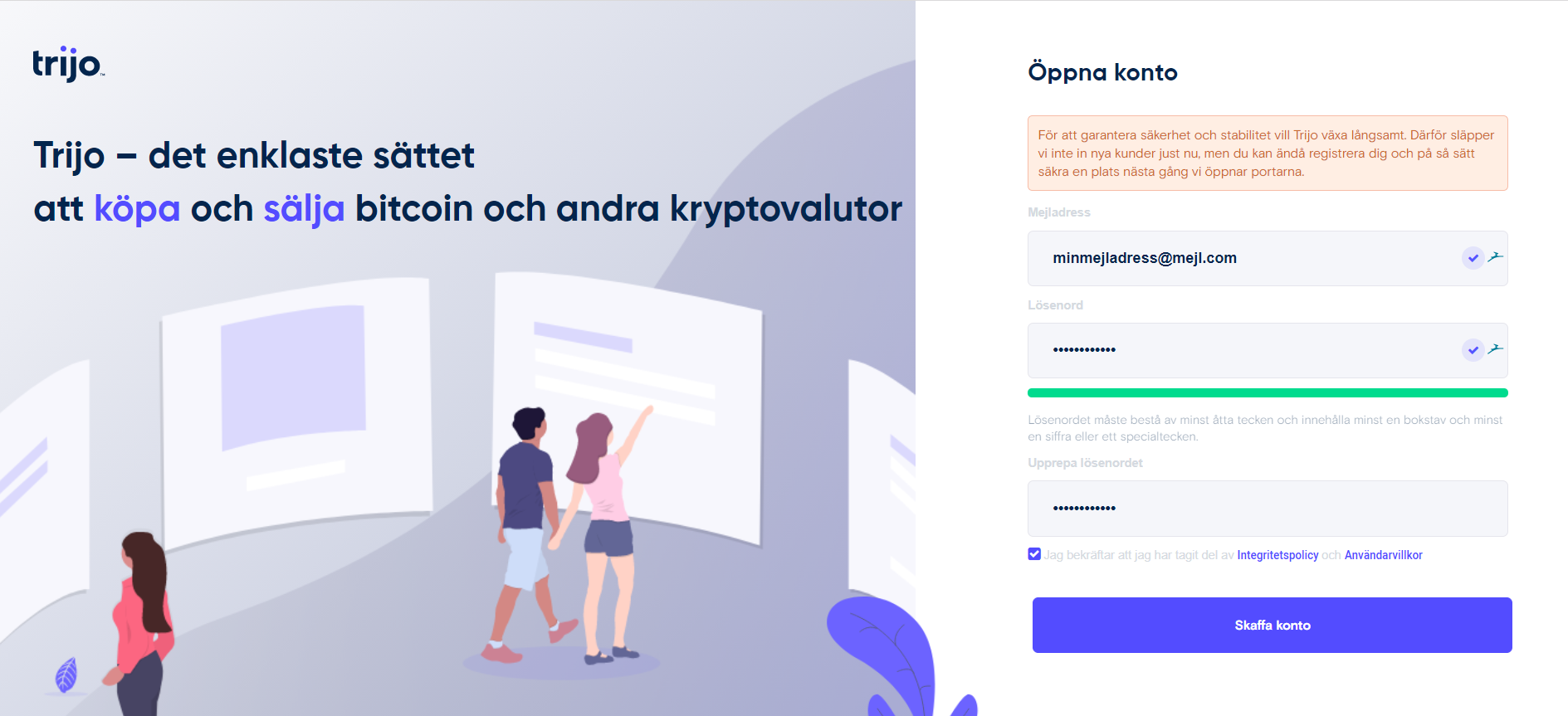 Guide: registrerar du dig på Trijo.co för att köpa bitcoin