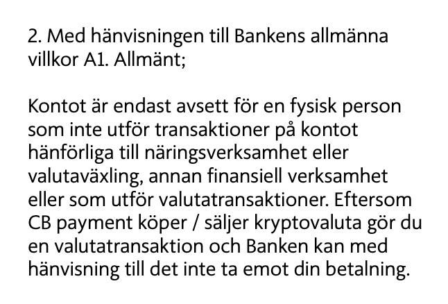 Ett skriftligt svar som Johan fick från Ica Banken.
