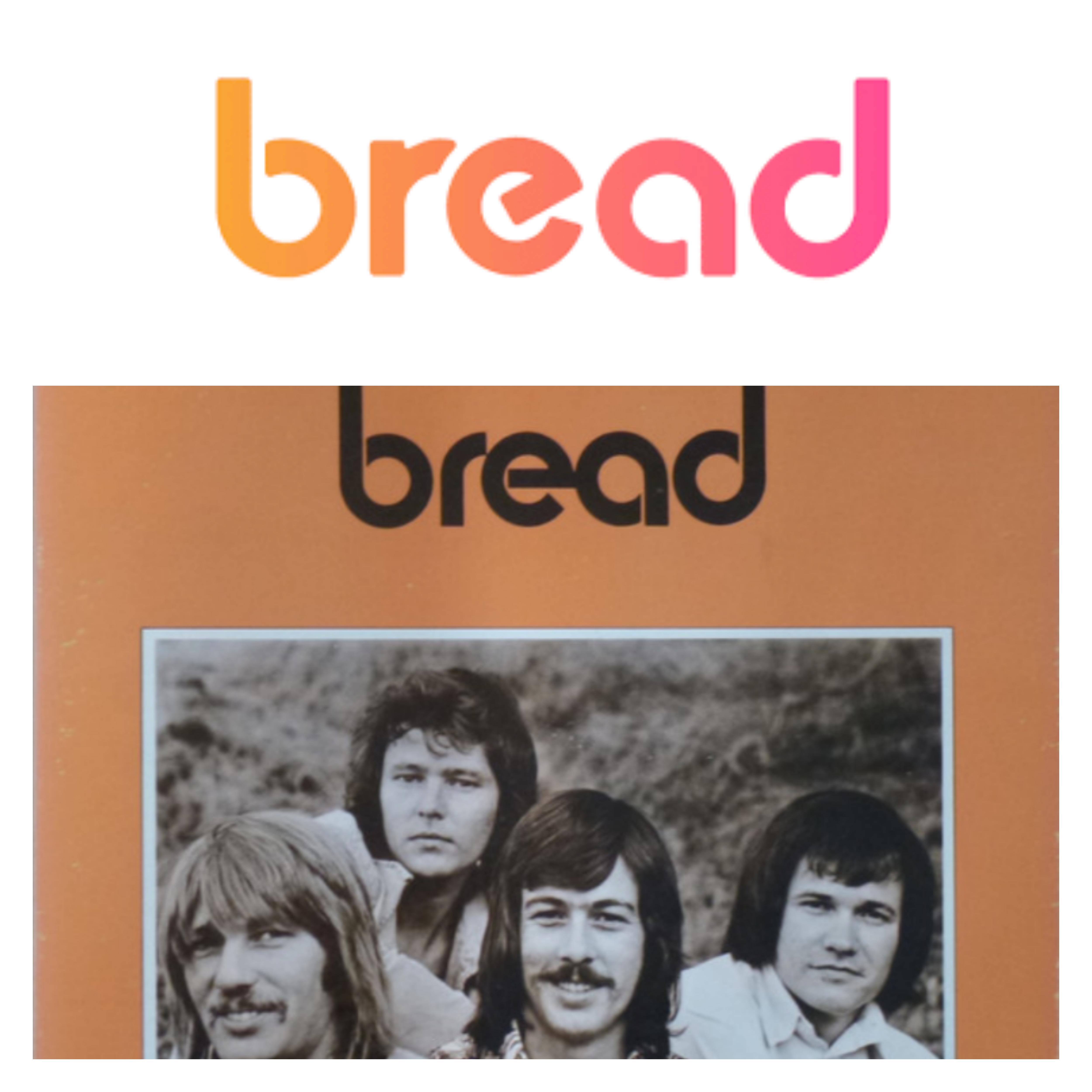 Loggor från bitcoinplånboken Bread och 70-talsbandet Bread.