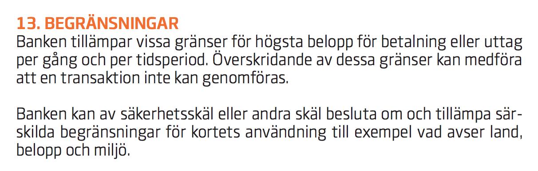 Swedbanks villkor för betalkort.