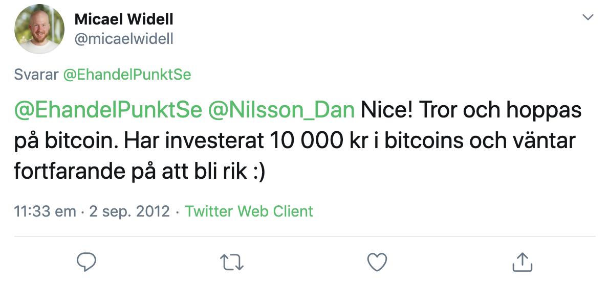 Micael Widell tweetade om sitt köp 2012