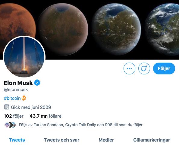Elon Musk twitterbio bitcoin.