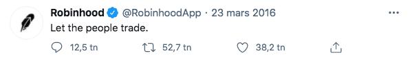 Tweet från Robinhood från 2016.