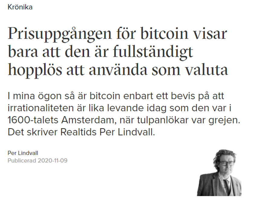 Per Lindvall om bitcoin.